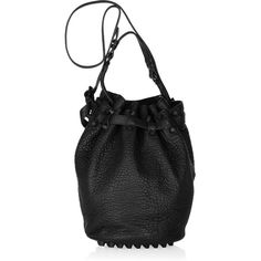 Alexander Wang Diego textured-leather bucket bag ($825) ❤ liked on Polyvore featuring bags, handbags, purses, hand bags, drawstring purse, studded purse, studded handbags and top handle bags