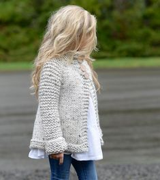 Knitted chunky cardigan for your little one! Find this pattern and more knitting inspiration for children at LoveKnitting.Com.