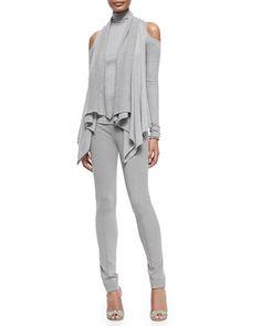 -5FEP Donna Karan Cashmere Cold-Shoulder Cardigan & Long-Sleeve Cold-Shoulder Turtleneck Top