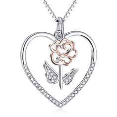 Silver Light Jewelry 925 Sterling Silver Flower Heart Pendant Necklace for Women,18 inches Chain