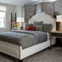 Einrichten und dekorieren in neutralen Farben-Raumideen für Schlafzimmer-Polsterbett