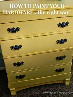 How To Paint Your Hardware...the right way www.bddesignblog.com #paintedfurniture #yellow #bddesignblog