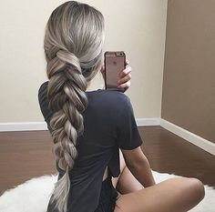 long hairstyle | braid | ponytail | fishtail | platinum blonde | with hair extensions