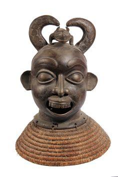 AFRICAN BRONZE SCULPTURE - Benin Bronze Demon Head, 20th c