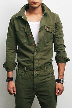 мужской моды военного смотри хаки Слитный комбинезон общий Jean, GENTLERSHOP