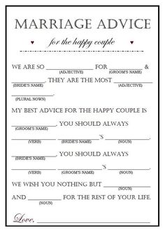 Editable Wedding Mad lib funny wedding guestbook mad lib template wedding guest gift wedding mad lib personalized corjl is part of Bridal shower gifts for bride & Whats inclu - Wedding Mad Libs, Wedding Games, Wedding Songs, Wedding Humor, Wedding Advice, Wedding Ideas, Engagement Party Games, Wedding Disney, Wedding Speeches