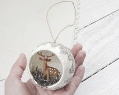 Diorama Christmas Ornament - Woodland Deer Scene