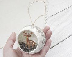 Diorama Christmas Ornament - Woodland Deer Scene