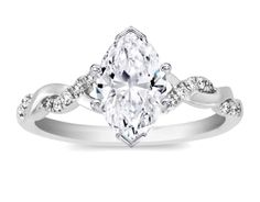 Marquise Diamond Petite twisted pave band Engagement Ring