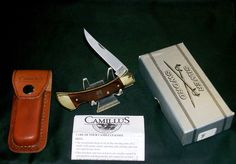 "Vintage Camillus USA #F Medium Slimline style Lockback Knife & Sheath ""SFO"" for Beck's Hybrids W/Package & Papers @ ditwtexas.webstoreplace.com"