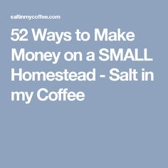 52 Ways to Make Money on a SMALL Homestead - Salt in my Coffee
