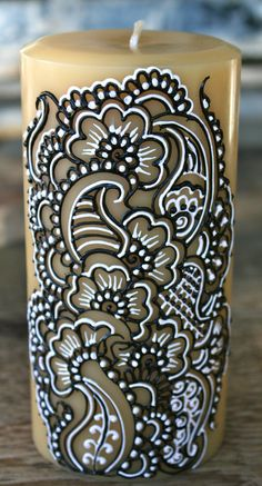 Henna Style Painted Candle Henna Candles Indian by RedwoodHenna, $25.00