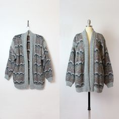 vintage 80s slouchy cardigan / 1980s oversized sweater coat /
