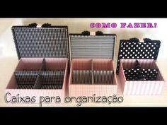 Maleta de Maquiagem Feita com Caixa de Sapat o - YouTube Cardboard Box Diy, Cardboard Organizer, Diy Karton, Fabric Covered Boxes, Tetra Pak, Diy And Crafts, Paper Crafts, Sewing Room Organization, Carton Box