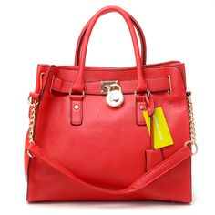 $77 Michael Kors Hamilton Medium Leather Satchel Red : Michael Kors Outlet Online
