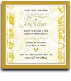 135 Square Wedding Invitations - Yellow Harvest Floral Jubilee by WeddingPaperMasters.com. $353.70. Now you can have it all! We have created, at incredible prices & outstanding quality, more than 300 gorgeous collections consisting of over 6000 beautiful pieces that are perfectly coordinated together to capture your vision without compromise. No more mixing and matching or having to compromise your look. We can provide you with one piece or an entire collection in a ...