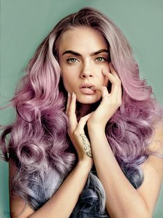 ℒᎧᏤᏋ her gorgeous voluminous pink to purple to blue curly ombré hair!!!! ღ❤ღ