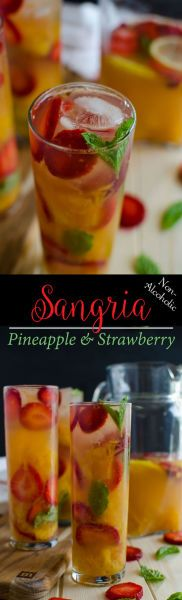 This non-alcoholic strawberry sangria is very refreshing and prepared using fresh strawberries & pineapple. It is healthy and kids friendly.