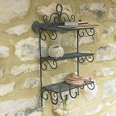 Iron Three Shelf Rack With Hooks - storage