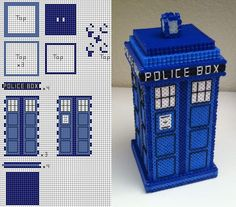 Perler bead Doctor Who TARDIS tutorial