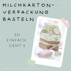 Hier findest du eine Anleitung wie du eine schöne Milchkarton-Verpackung basteln kannst. Verpacke deine Geschenke persönlich, kreativ und anders. Stampin Up, Packaging, Personal Care, Instagram, Diy Presents, Mother's Day Diy, Homemade Cosmetics, Book Folding, Gift Wedding