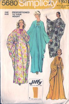 Boho caftan pattern vintage hippie hipster vintage sewing pattern Uncut Simplicity 5680 One Size retro pattern Vintage Hippie, Mode Vintage, Vintage 70s, Couture Vintage, Vintage Outfits, Vintage Fashion, Hippy Chic, Vintage Dress Patterns, Caftan Dress