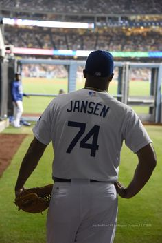 Jansen in the bullpen waiting to close the game...