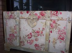 Old trunk, covered in fabric and paint