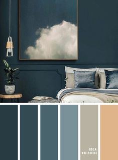 25 Best Color Schemes for Your Bedroom { Dark Blue with Sand Accents } - Idea Wallpapers , iPhone Wallpapers,Color Schemes Grey Colour Scheme Bedroom, Blue Bedroom Colors, Blue Colour Palette, Color Blue, Color Palettes, Dark Blue Rooms, Blue And Gold Bedroom, Dark Blue Paints, Blue Carpet Bedroom