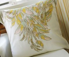 Feather Motif w/blue & black & chevron for living room pillows