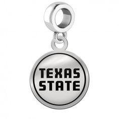 Sterling Silver Medium Size Round Top Texas State University Bobcats Cufflinks