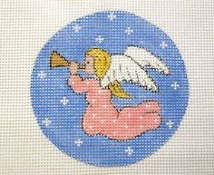 Heavenly Angel in Pink Christmas Ornament Handpainted Needlepoint Canvas #Unbranded