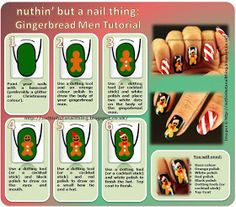 Gingerbread Man and Candy Canes Nails Tutorial