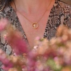 The circle flatters the neckline and includes a floating small gold cross sat within the centre of the circle. Coin Necklace, Star Necklace, Pendant Necklace, Fashion Necklace, Fashion Jewelry, Trendy Necklaces, Gold Cross, Jewelry Stores, Wedding Jewelry