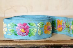 Vintage French jacquard cotton ribbon, blue, pink & orange ombre flower motif, sewing decoration, children clothing, wrapping, kid, craft