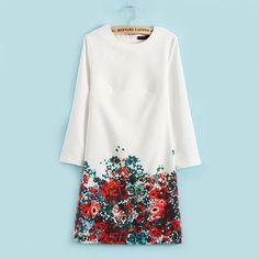 Spring Fashion Women Work Wear Dress New Cute Flower Print Long Sleeve Dress Women