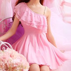 Dress Lolita Mori Girl Falbala Chiffon Sexy Dew Kawaii Cute Sweet Dolly shoulder