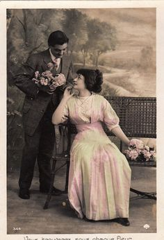 French antique lovers postcard . Romantic. by ParisBookandPaper, $5.60