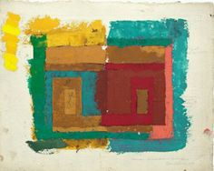 Joseph Albers, Study for a Variant, ca 1947, oil on blotting paper with pencil