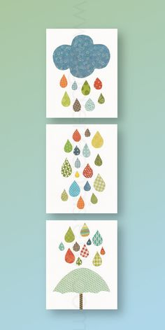 Nursery art, baby nursery decor, nursery wall art, umbrella. cloud, rain, colors, Set of 3 11x14 Prints - Raining Colors by GalerieAnais. $72.00, via Etsy.