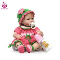 68.11$  Buy now - http://ali3ba.worldwells.pw/go.php?t=32754509435 - UCanaan 18inch 40-45cm Silicone Reborn Baby cloth Body Cute best Christmas Present  for kids Open Eyes Toys change eyes color 68.11$