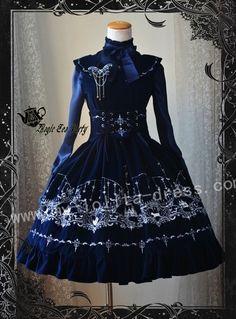 Magic Tea Party Castle Moon Embroidery Lolita Jumper Dress $100.99-Cotton Lolita Dresses - My Lolita Dress