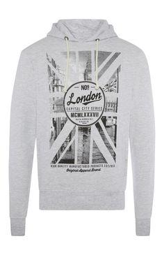 Primark - Hellgrauer Kapuzenpullover mit Londonmotiv und Union Jack