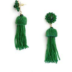 Emerald Green Tassel Earrings ($98) ❤ liked on Polyvore featuring jewelry, earrings, bohemian jewelry, boho chic jewelry, boho earrings, retro earrings and tassel earrings