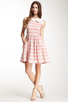 Knitted Dove Stripes A Go-Go Dress