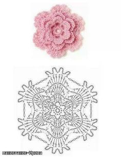 Crochet Rose: ~ love it!DIY Crochet Flower Diagram DIY Crochet Flower Diagram by diyforeverPink crochet flower with lacy edgeLace Flower ☀CQ by Maison BeauvilainLace Flower CQ Thank you for sharing!Pink little rose crochet häkeln flower flowers bl Beau Crochet, Crochet Diy, Crochet Motifs, Crochet Diagram, Crochet Chart, Crochet Doilies, Crochet Stitches, Irish Crochet, Crochet Borders