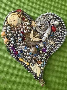 Handmade Vintage Jewelry Mixed Media Mosaic Heart