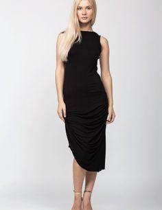 Rochie drapata neagra Dresses For Work, Superhero, Black, Fashion, Black People, Fashion Styles, Superheroes, Fashion Illustrations, Trendy Fashion