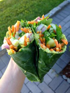 "adictedtorunning: "" earth—eater: "" collard green wraps with edamame hummus, lime juice, red onion, carrot, cucumber, arugula & black pepper "" """