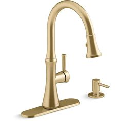 KOHLER Kaori Vibrant Moderne Brushed Brass 1-Handle Deck-Mount High-Arc Handle Kitchen Faucet (Deck Plate Included) in the Kitchen Faucets department at Lowes.com Brass Faucet, Faucet Handles, Kitchen Handles, Kitchen Faucets, Kitchen Reno, Movie Theater Decor, Braided Hose, Military Discounts, Lowes